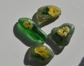 Miniature Art - Hand Painted Set of 4 Spring Flowers on Green Scottish Sea or Beach Glass