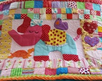 Baby Floor Quilt,  Baby Quilt, Children's Quilt, Animal Quilt, Elephant Quilt Nursery Quilt