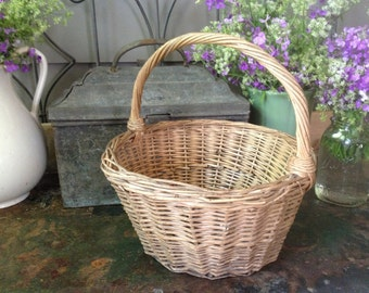 Antique French Market Basket, Handwoven Willow Basket, Flower Basket Storage