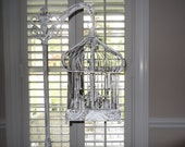 Reserve for Fran   Chandelier floor Lamp ,vintage chandelier bird cage light  shabby chic chandelier, French country,this lamp has sold.