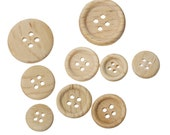 100 Natural Wooden Buttons - Mixed Sizes from 22mm (7/8 inch) to 12mm (1/2 inch) -  4 hole - Wood Button (53306)