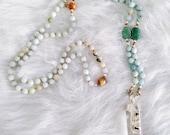Amazonite, Aventurine And Crystal 108 Bead Mala
