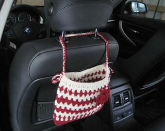 Crochet Car Headrest Caddy with a Flower, Car Accessories - burgundy/aran (CCHC1A-F1)