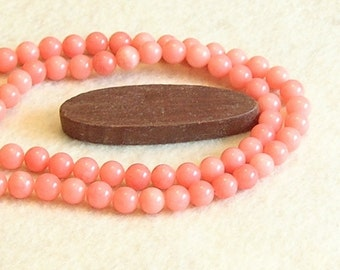 Peach Pink colored Jade 8mm  beaded gemstone stretch, stacking, healing, girls, baby bracelet B010