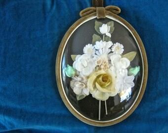 1950s Convex Glass, Velvet Frame, Floral Arrangement Picture - Vintage Wall Decoration, 1950s Kitsch