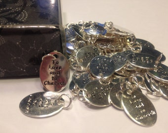 "5 count "" To Love and to Cherish"" charms, 14 x 18 mm (5)"