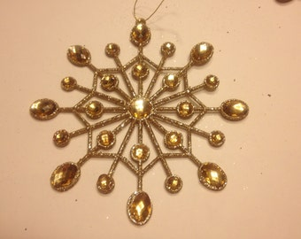 Large plastic glitter and gems snowflake ornaments, 160 mm (JJ)