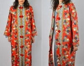 SILK Vtg Authentic Japanese Robe KIMONO Red Floral Draped Jacket Maxi Robe Duster with Pockets size S - M