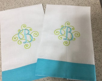 Scroll Two Color monogram Hand Towl
