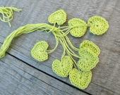 Small wedding favors, crochet tiny green hearts, 15 green hearts, wedding decorations, embellishments, applique, Birthday, scrapbooking,card