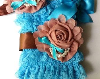 15% off Vintage turquoise blue  lace posh petti ruffle romper headband  sash set S M L XL XXL