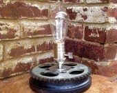 Moto Theme Industrial Table lamp; Edison bulb, sprocket