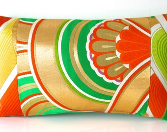 Luxury Decorative Pillow Cushion in a Bold Oriental Metallic Golden Arch in Green, Red & Yellow Fully Embroidered Vintage Japanese Obi Silk