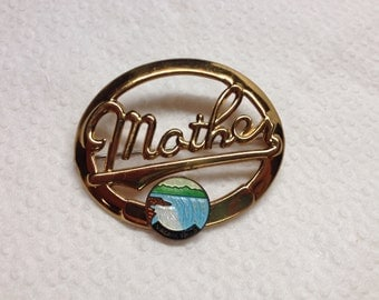 Vintage Goldtone NIAGRA FALLS Mother Style Design Pin/Brooch
