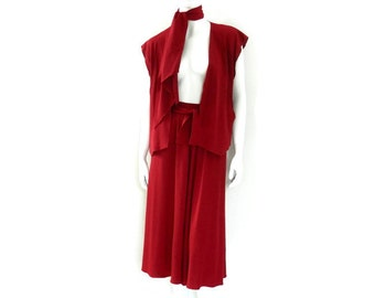 Holly's Harp 3 Pc Set Red Jersey Knit Wrap Around Skirt Vest and Scarf