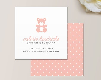 Nanny or Babysitter Square Business Card / Calling Card / Mommy Card / Contact Card - Au Pair Business Card, Nanny Business Card