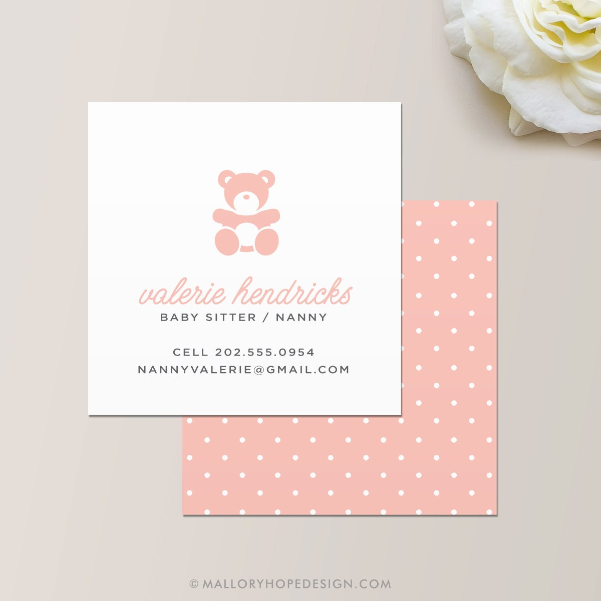 Nanny or babysitter square business card calling card for Custom square business cards