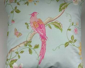"Shabby Chic Cushion Cover in Laura Ashley Summer Palace Bird Duckegg Blue 14"" 16"" 18"" 20"""
