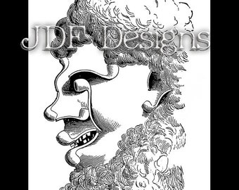 Instant Digital Download Vintage Victorian Era Graphic, Optical Illusion Pipe Smoke Head, Face, Tobacciana Man Antique Print Printable Image