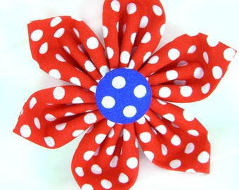 Red White and Blue Dog Flower/ 4th of July Collar Flower: Americana Dot