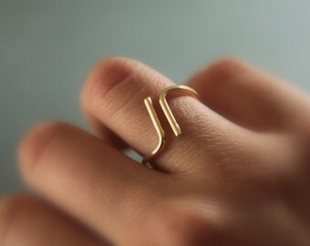 Side by side ring//14kt. gold filled//Handcrafted