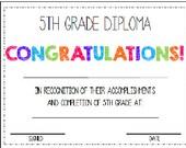 Fifth Grade. 5th Grade. Diploma/Award