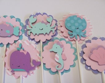 Under the Sea cupcake toppers, Sealife cupcake toppers,Set of 12,