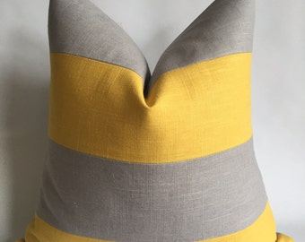 Light Gray and Yellow Linen/Cotton Fabric Pillow Cover