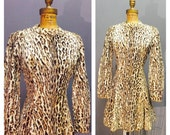 SAVAGE KITTEN Vintage 1950's 1960's Furry Faux Leopard Print Fur Pinup Day or Cocktail Dress with Mandarin Collar & Flirty Full Skirt S M