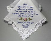 Wedding Handkerchief Embroidered to Mother of the Bride Monogrammed Personalized Custom (#7201)