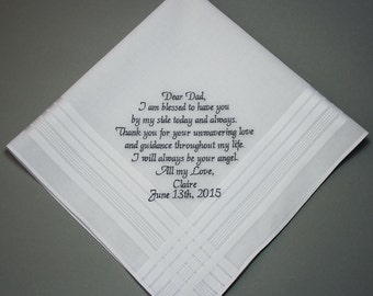 Father of Bride Personalized Embroidery Wedding Handkerchief Custom Monogram