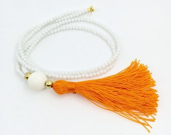 Long Beaded Necklace- White necklace - Orange Tassel Necklace