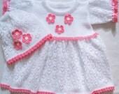 Knitted Dress and hats, Knitted white dress, Christening dress, White girl's dress, Summer dress, Knitting baby white dress