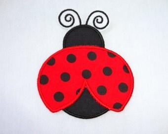 Ladybug Patch, Ladybug Iron On, Appliqued Red & Black Ladybug Iron On Patch