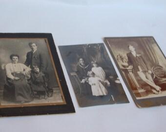 Vintage Portrait set. 3 Vintage photos. Vintage family photos. Vintage family portraits. Black and white portraits. Sepia portraits