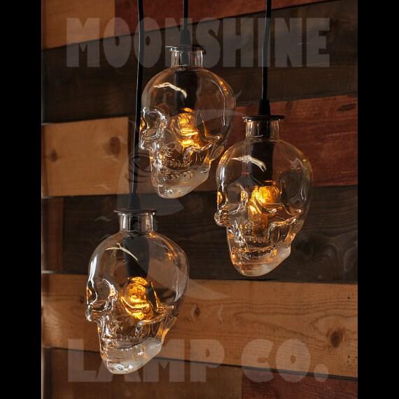Skull bottle chandelier 3 light pendant for Eclairage stand