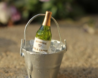 Miniature Handcrafted BUCKET of CHAMPAGNE with ICE  for your Miniature Beach Scene  - by Landscapes In Miniature