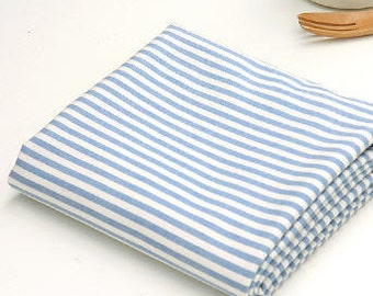 Blue Stripe Cotton Fabric - By the Yard 76496