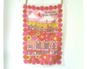 Shakespeare mod pink flowers vintage souvenir tea towel - kitchen linen