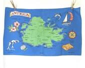 Antigua island vintage souvenir map tea towel - kitchen linen