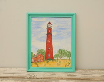 Original Watercolor Painting Lighthouse in Turquoise Frame SIGNED