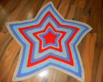 sweet and snuggly star shape crochet baby blanket, afghan red, blue and beige