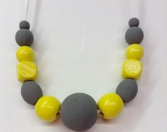 Hand painted wood bead necklace/ yellow/gray/geometric