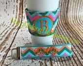 Monogrammed Coffee Mug Sleeve and Matching Key Fob