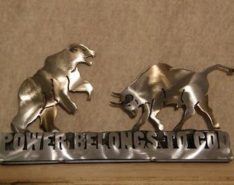 Desktop Metal Sculpture of Bear and Bull Including Scripture