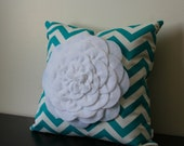 Decorative Throw Pillow Cover, White Chrysanthemum Pillow Cover, Accent Pillow, Sofa Pillow, 14x14,16x16, Bedroom Pillow, Toss Pillow