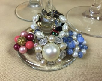 VINTAGE EAR RING Wine Glass Charms / Wine Glass Markers - Pretty Vintage Cluster Earrings - Assorted Colors