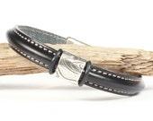 Regalize Leather Bracelet Mens Leather Silver Slide Magnetic Clasp CarolMade Ms20