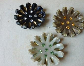 Celluloid and Rhinestone Flower Burst Findings