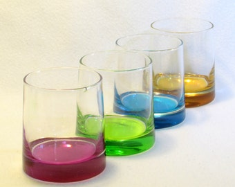 Colorful Glasses (4) - Vintage Rainbow Colored Glassware - Blue - Pink - Green - Gold - Tumbler - Rocks Bar Ware